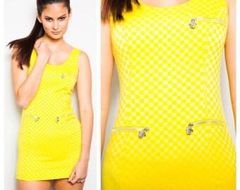 S.U.P.E.R S.A.L.E was 325 now 200 club kid vintage 90s VERSACE yellow body con micro mini Medusa zipper dress