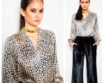S.A.L.E was 395 now 300 amazing vintage 70s/80s CELINE animal print silk button down shirt blouse