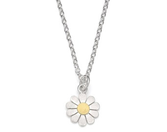 Little Daisy pendant necklace in solid silver and 18ct gold