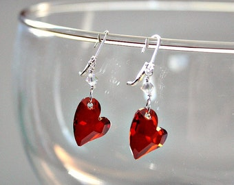 Valentines Gift for Wife,Swarovski Heart Earrings,Anniversary Gift,For Wife,Red Crystal Heart,Sweetheart Gift,Unique,Heart,Earrings