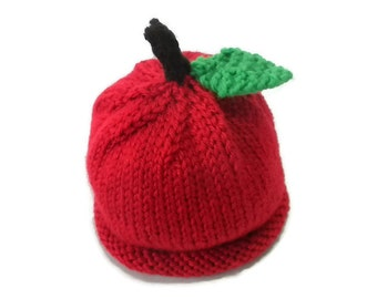 Baby Apple Hat Hand knit in Red