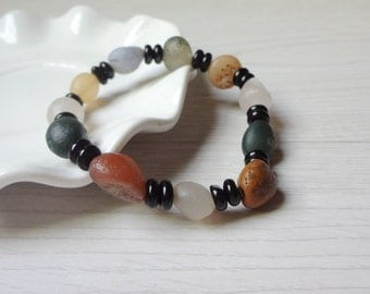 Tibetan desert agate Bracelet, Natural Rough Agate Bracelet, Real Raw Agate Bracelet, Rough Gemstone Bracelet Jewelry