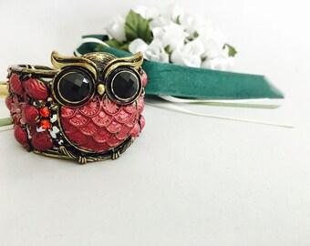 OWL CUFF BRACELET, bangle bracelet, animal in jewelry, lovely romantic gift for her, for girl, metal bracelet, vintage style