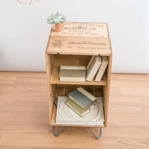 Reclaimed wooden wine crate furniture cabinet by madeanewshop Wooden crates furniture