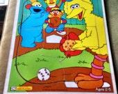 Collectible Wood Puzzle Playskool Big Bird Baseball 1994 Ctw Vintage