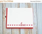 LETTERPRESS SALE 50% OFF Letterpress love card , letterpress valentine , valentine's day, valentine's card, letterpress hearts , red heart,