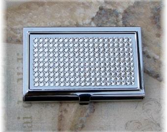 Austrian Swarovski Crystal Rhinestone Crystal Bling Clear Business Card Case Holder Gift for Her