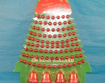 Red Bead Garland and Bells- 2M Garland, 8 Bells - Christmas Tree & Wreath Decorations - Vintage
