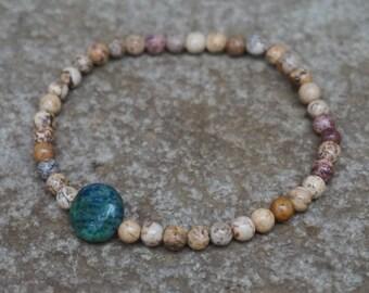 Boho Beaded Bracelet, Brown Beaded Bracelet, Chrysocolla, Boho Gift for Her, White Bracelet, Minimalist Jewelry, Bohemian Bracelet Set