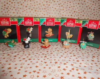 Five Hallmark Miniature Ornaments-1990-1991-1992