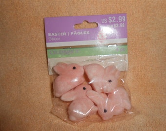 Four Pink Flocked Bunnies-Unopened Pack