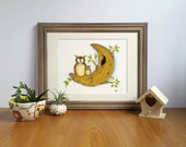 Owl Fine Art Print, Owls and Moon, Woodland Nursery Decor, Whimsical Owl Art, Gifts for Kids, Nursery Art, Gifts for Girls, Gifts for Boys