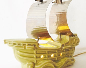 Vintage 1950's Ceramic Pirate Ship TV Lamp with Tin Sails and Flags Chartreuse Green Mid Century Retro Nautical Sailing Ship Home Deco