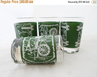 ON SALE Vintage, Colonial Homestead, Green,  White, Juce Glass, Glasses, Set of 4, Royal, USA, Cottage Chic, Glassware, Serving