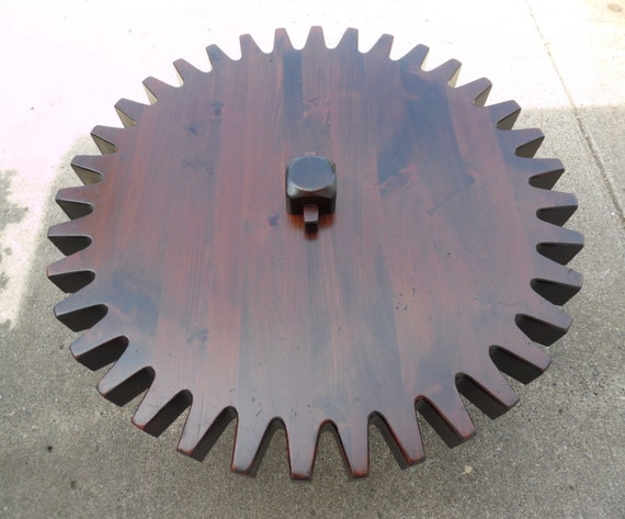 Vintage Ethan Allen Gear Cog Wheel Coffee Table Spinning Lazy