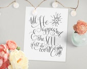 O Holy Night // Original Scripture Art Print, Christmas Carol Star Calligraphy Home Decor Wall Gallery Winter Holiday // 5 x 7, 8 x 10