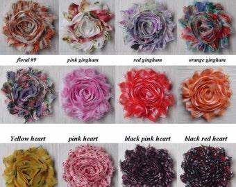 "25 PRINT Shabby Flowers ~ 2.5"" Chiffon Flowers"