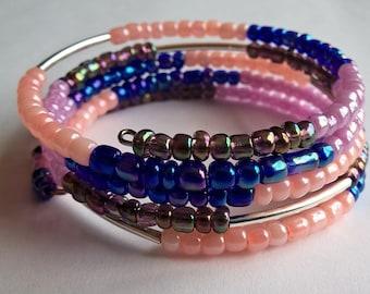 Memory Wire Bracelet: Pale Peach, Lavender, Rainbow Finish Blue, Rainbow Finish Purple and Silver Tube