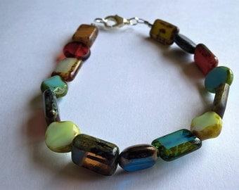 "7.5"" Bracelet: Coloful Czech Glass Beads- Light Blue, Red, Black, Yellow, Orange Lobster Claw Clasp Bracelet"