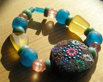 Kashmiri Recycled Glass Beaded Stretchy Bracelet- Aqua Blue, Yellow, Pink, Turquiose