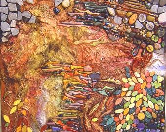 SALE - Mosaic and mixed media mural – Sharing My Backyard 3