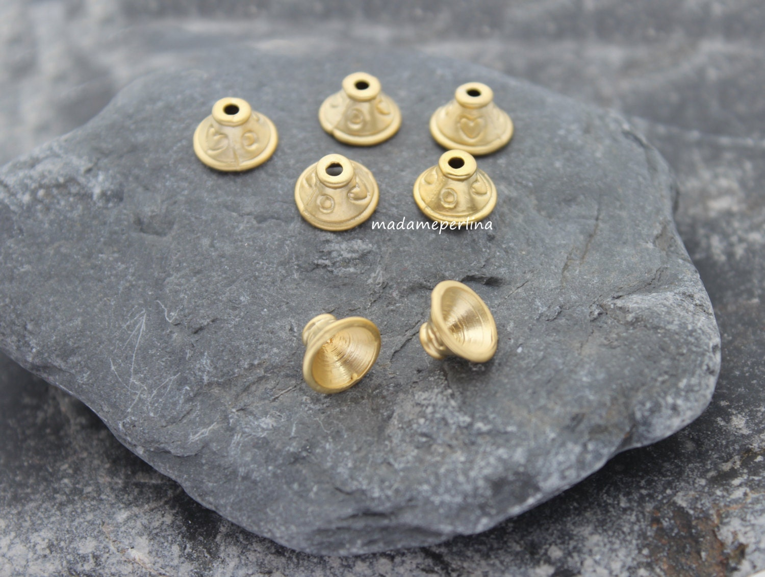Cone bead end caps mm round matte gold plated