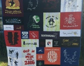 Two sided T Shirt Quilt, Custom Puzzle Design, Memory Quilt Custom Order Quilt You Pick Size - Using Your Shirts-DEPOSIT ONLY