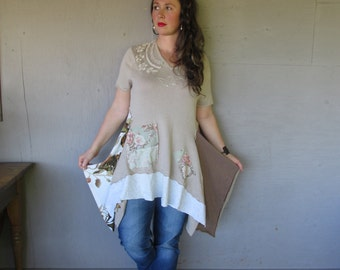 upcycled clothing mori girl chic tunic Eco flowing patchwork dress X large 1 X Earthy Romantic dress Lagenlook Artsy top  LillieNoraDryGoods
