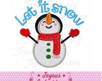 Instant Download Let It Snow Snowman Embroidery Applique Design NO:1877