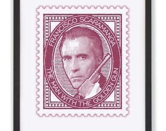 "The Man With The Golden Gun - 50 x 40cm ""Francisco Scaramanga"" James Bond Stamp Print"