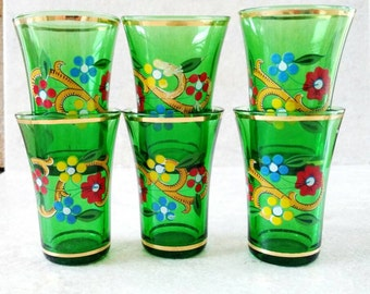 Elegant Glass Shot Glasses Gold Trimmed Emerald Green Glass Whiskey Cocktail Glassware Floral Graphics Made in Czechoslovakia Set of 6 1933