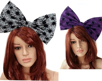 Giant Extra Large Halloween Hair Bows- Velvet Glitter Arachnid- Black Widow Giant Hair Bow- Costume.