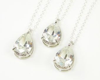 Clear Crystal Teardrop Necklace, Silver Clear Rhinestone Pendant Necklace, Bridal Wedding Party Bridesmaids Jewelry Clear Drop |NB2-33
