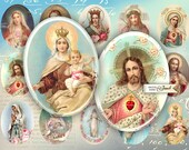 Holy Image - oval image - 30 x 40 mm - digital collage sheet - Printable Download