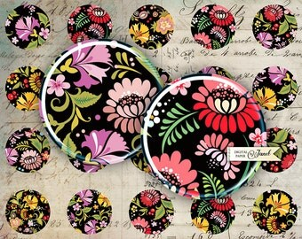 Natural Ornaments - circles image - digital collage sheet - 1 x 1 inch - Printable Download