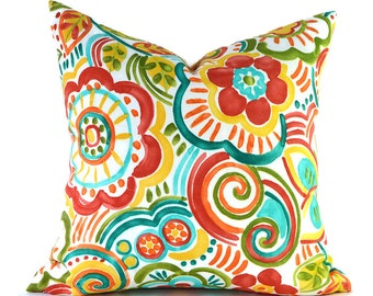 Outdoor Pillows Outdoor Pillow Covers Decorative Pillows ANY SIZE Pillow Cover Turquoise Pillows Mill Creek Outdoor Bronwood Carnival