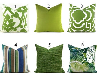 Outdoor Pillows Outdoor Pillow Covers Decorative Pillows ANY SIZE Pillow Cover Green Pillows You Choose