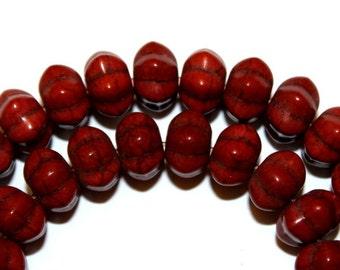 Brown Turquoise Pumpkin Beads
