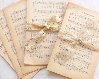 French Music Sheets 1900s Vintage Paper Bundle, Music Paper Pack, Vintage Book Pages, 18 Sheets of Old Music Paper, French Paper Ephemera