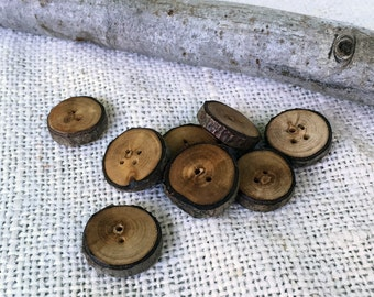 Natural Rustic Wood Buttons, Wooden Branch Buttons, Handmade