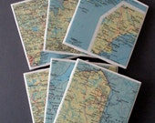 1967 Maine Handmade Vintage Map Coasters - Ceramic Tile Coasters Set of 6 - Repurposed 1960s Rand McNally Atlas - OOAK Drink Coasters