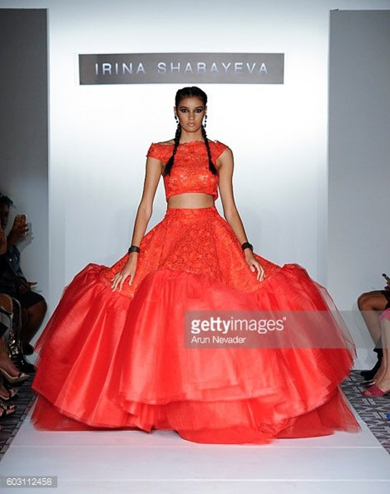 Irina Shabayeva Lace Applique top with lace ball skirt. Comes in custom colors ..
