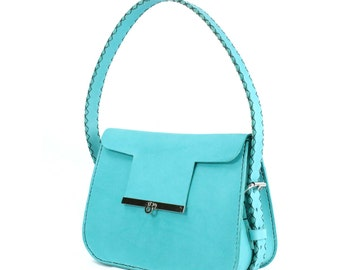 turquoise turchese vegitable tan leather hand shoulder bag, hand stitched, ready to ship