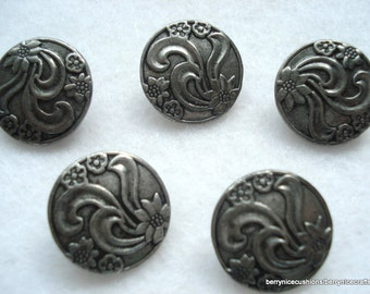 19mm Dark Grey Metal Shank Button Flower Pattern Pack of 5 Etched Metal Buttons MB17