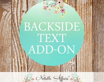 Backside TEXT Add-on - Want to add text or a design to the back of your invitation?  Purchase this listing.