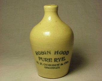 c1890s Robin Hood Pure Rye H. F. Corbin & Co. Cinncinati, Ohio , Rare Stoneware Mini Jug Miniature Sample Whiskey Jug