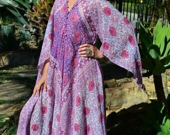 Vtg 70's India Goddess Adini boho flowy floral pink lavender block print metallic lurex sheer thin cotton gauze Angel wing sleeve Maxi dress
