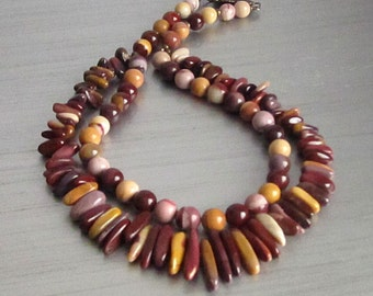 Mookaite Chunky Necklace, Natural Stone Jewellery, Earth Tone Necklace, Mookaite Semi Precious Stone Jewellery,