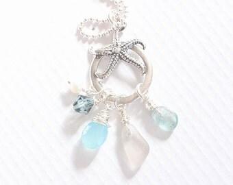 Long Starfish Necklace, Sea Glass Jewelry, Gemstone Necklace, Aqua Blue Beach Jewelry Long Necklace | Sample Sale