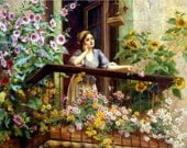 A Pensive Moment by Daniel Ridgeway Knight - a 225 piece Wooden Jigsaw Puzzle from BCB Puzzles